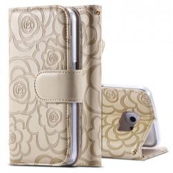 Étui et portefeuille en cuir pour téléphone avec motif fleuri